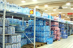 Still mineral water aisle in an Italian supermarket