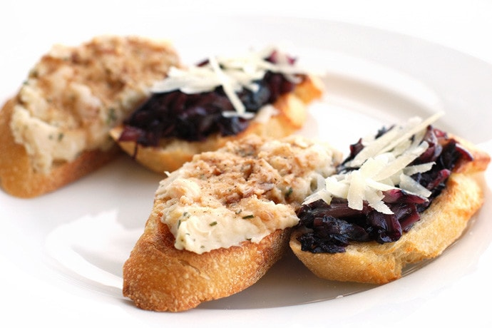 Two Kinds of Crostini: Cannellini and Radicchio