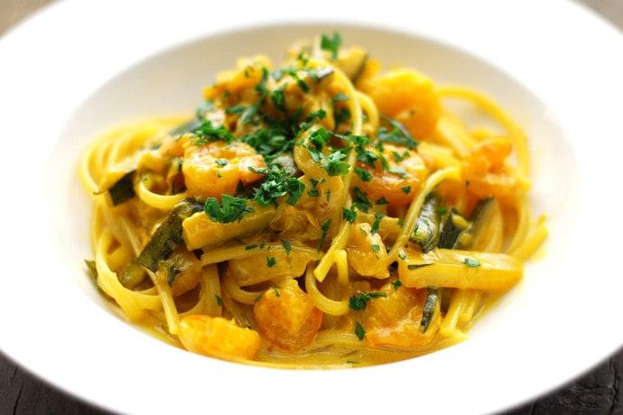 Shrimp, Zucchini and Saffron Linguine