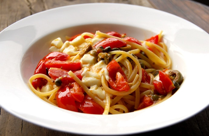 Mediterranean Pasta with Capers, Olives, Cherry Tomatoes, and Mozzarella