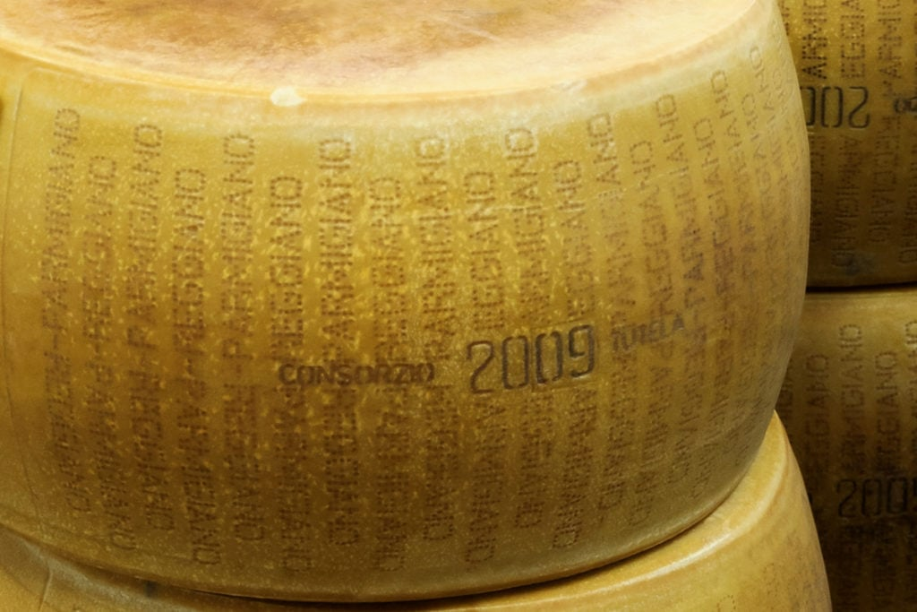 Rounds of Parmigiano-Reggiano