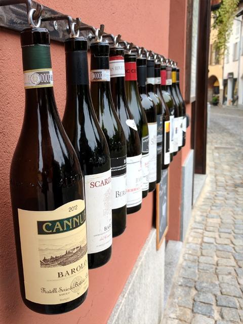 Wine bottles display