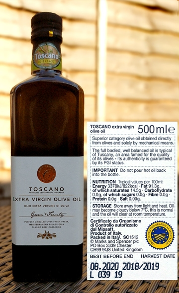 Italian PGI olive oil sold in the UK.[Photo by Paolo Rigiroli]